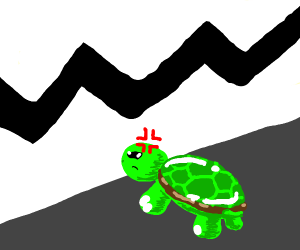 turtle angry at brown wall with zigzag