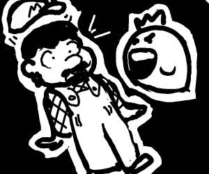 Mario Spooked by Ghost