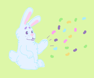Rabbit throwing Jelly Beans