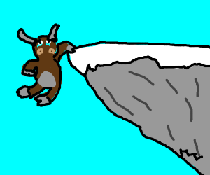 Sad cow about to fall off cliff