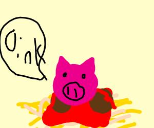 A pig on spaghetti
