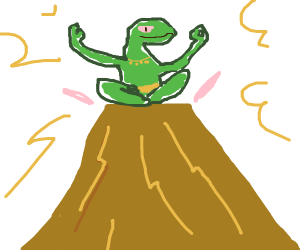 Lizard person lonely on mountain with shrine