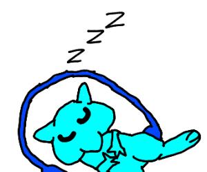 Shiny Mew sleeping