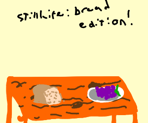 Bread, and a still-life of grapes.