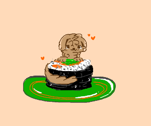Cute dog on a piece of sushi