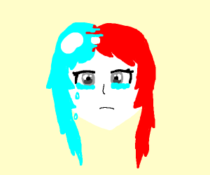 Sad red and blue haired girl