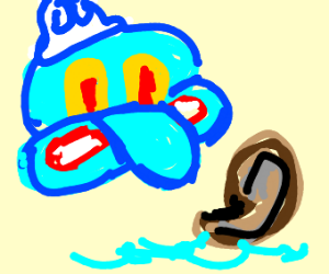 squid-ward holding a sea shell captive