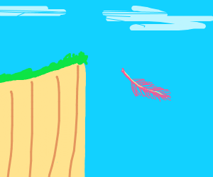 Flamingo feather floating down off a cliff