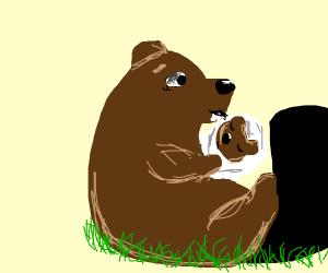 Beaver having a baby