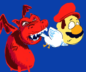 Mario the dove bitten on the tail by a dragon