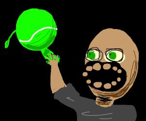 Man and tennis ball high five