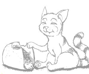 A cute kitten munching a taco