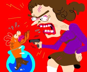 Woman threatening goldfish with gun