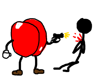red butt killing stick man