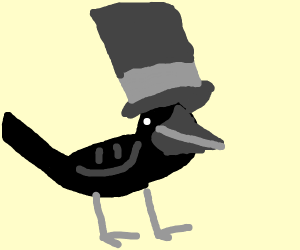 Crow wearing a Top Hat