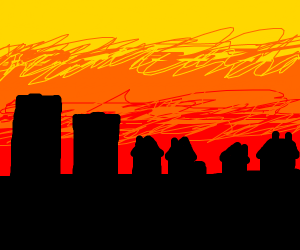 buildings in a sunset