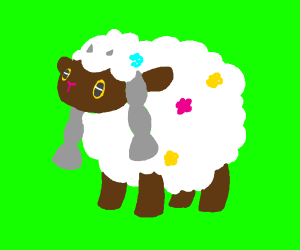 Wooloo with flowers in their wool. (Pokémon)