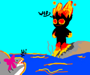 lavaman looks at a shark with a bow