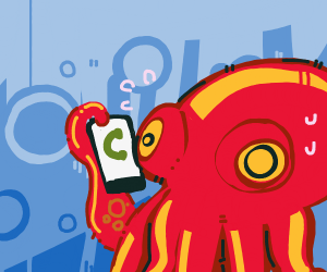Octopus calling and making frightened face