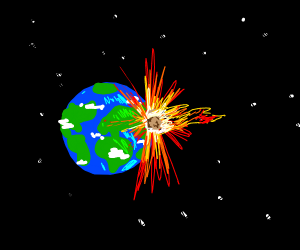 Meteor colliding with Earth