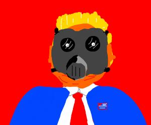 trump w/ a gas mask
