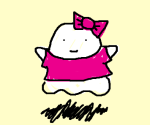 a ghost wearing pink clothes