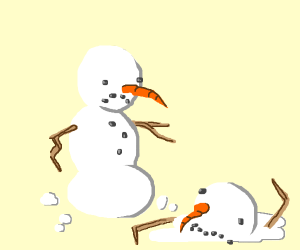 snowman is sad about his friend melting