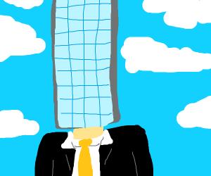 skyscraper headed businessman