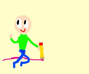Bald person draws pink line.