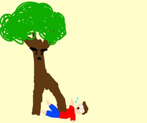 tree stomps on man
