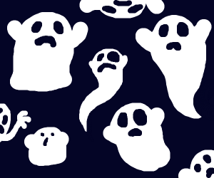 a bunch of spooky ghosts