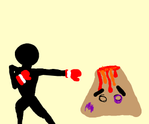Man Beating Up A Volcano
