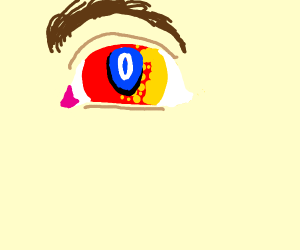 Red eye turning into a yellow eye