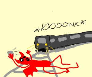Satan about to be run over by a train