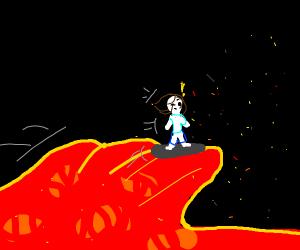 Surfing in lava