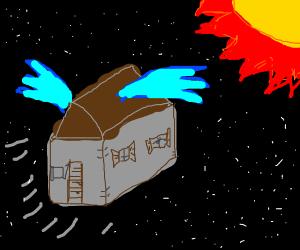 House creature flying towards the sun