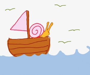 adorable snail sailing the seas