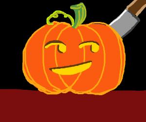 Jack o lantern with an emoji on it