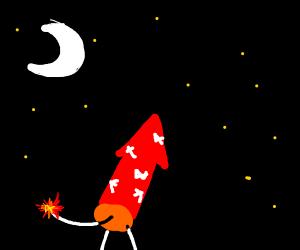 Lighting a firework
