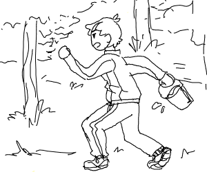 Trainer jogging with a Bucket