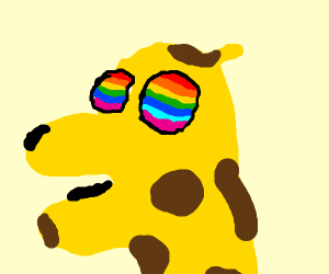 A giraffe with a rainbow in its face.