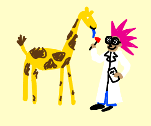 mad scientist with a giraffe