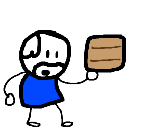 old guy with wood plank