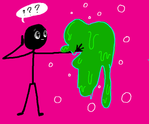 Confused stickman holding green goo