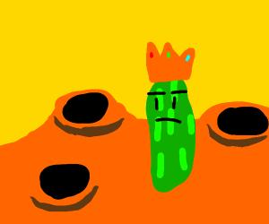 King pickle in orange planet