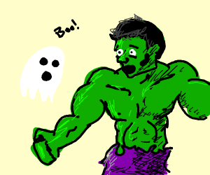 a ghost scaring the hulk