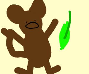 Monkey startled by leaf