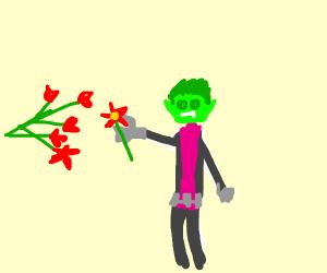 Beast boy picking flowers
