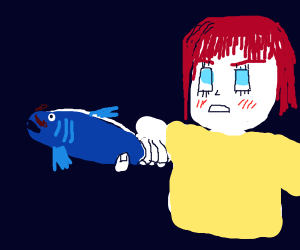 anime girl wields a fish with a mustache