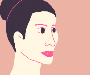 Woman with freckles and a hair-bun